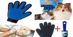 Двулицева масажираща ръкавица за куче или коте - за къпане и почистване на косми, плюс ролка за почистване на мъх, прах и косми от дрехи