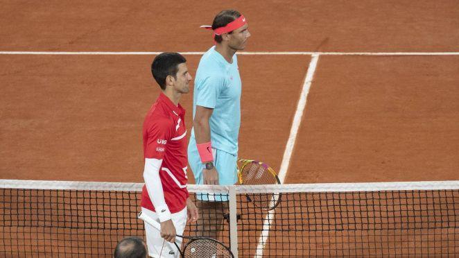 Novak Djokovic et Rafael Nadal avant la finale 2020