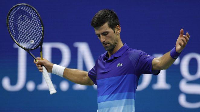 Novak Djokovic célèbre un beau point lors de son 8e de finale contre Jenson Brooksby à l'US Open 2021