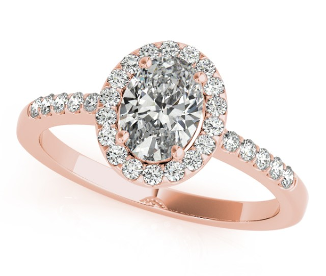Engagement Rings K Rose Gold Oval Halo Engagement Ring