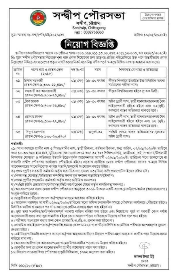 Municipality Office Job Circular 2020