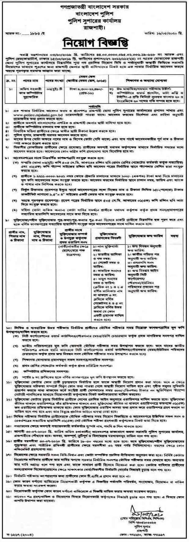Rajshahi Police Super (SP) Office Job Circular 2020