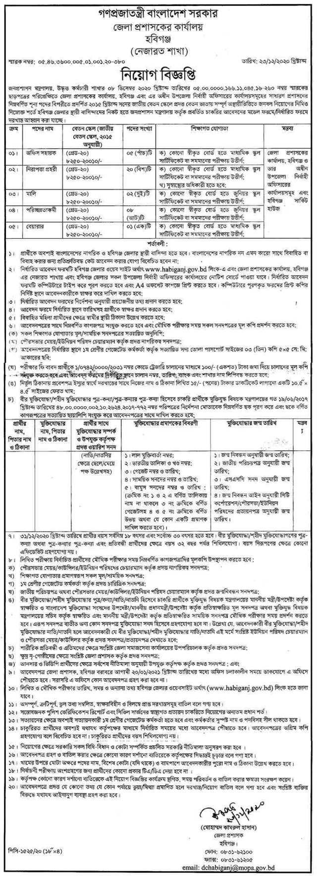 Habiganj District Commissioner Office Job Circular 2021 (Image)