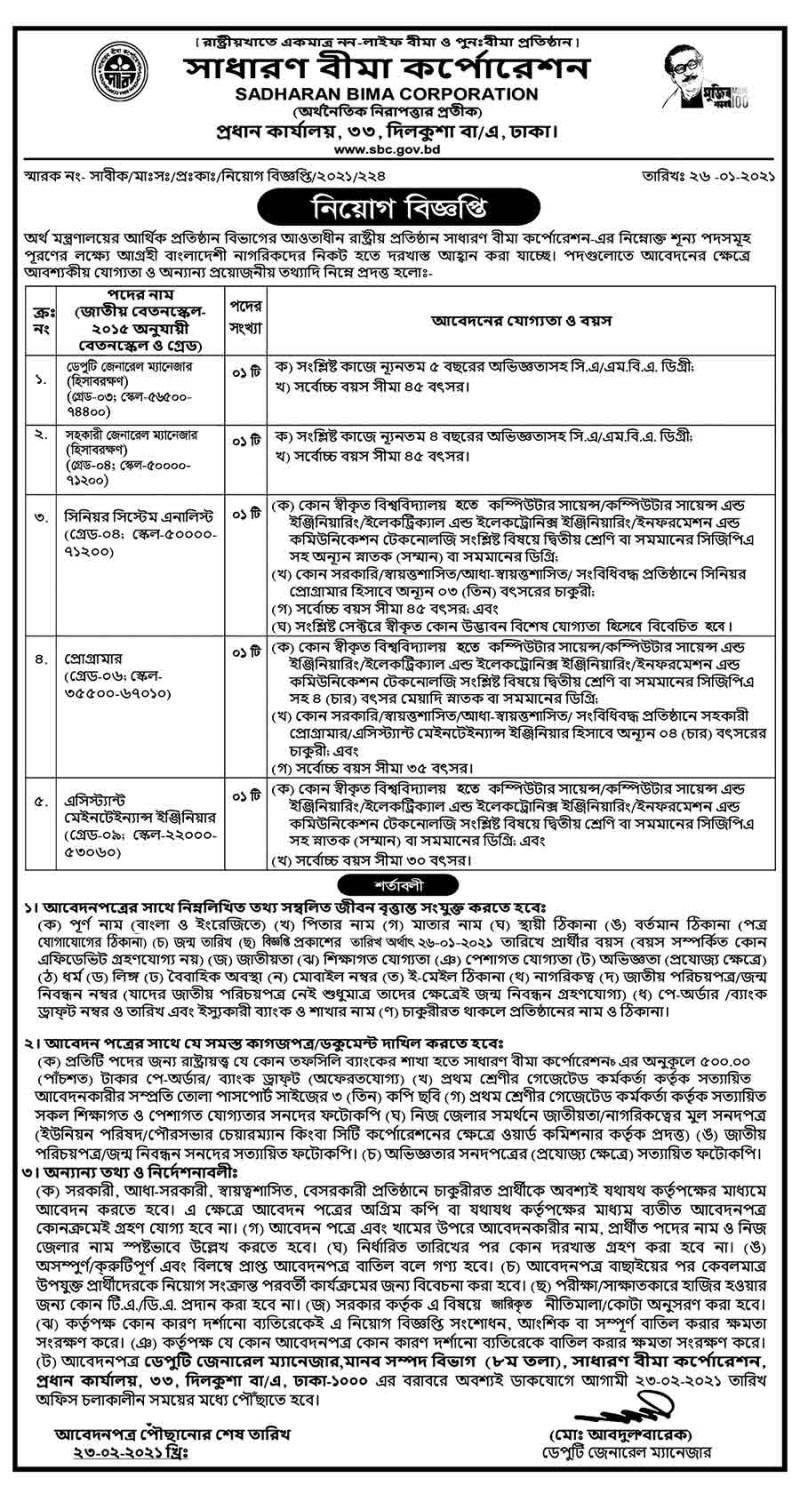 Sadharan Bima Corporation Job Circular 2021 (Image)