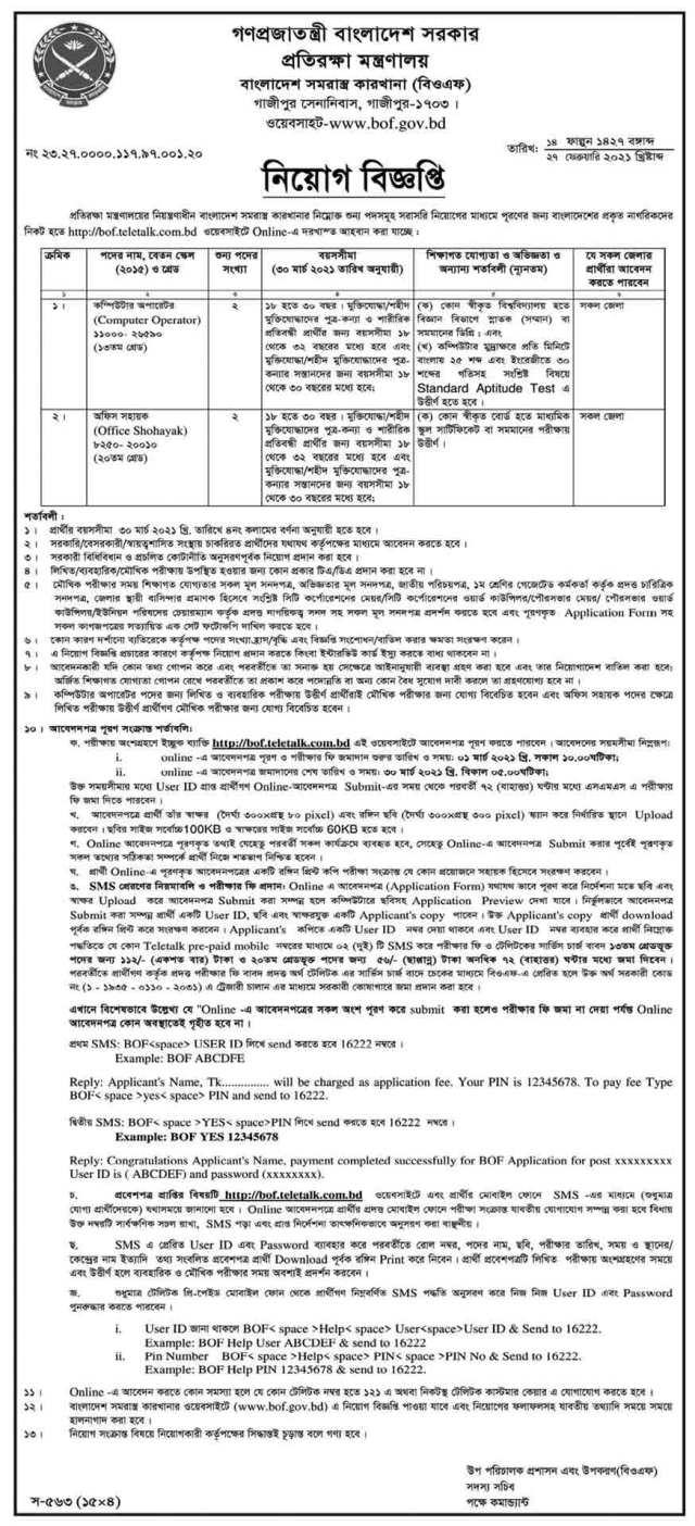 Ministry of Defence Job Circular 2021 (Image)