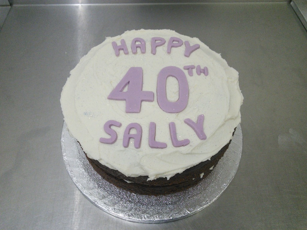 Buttercream With Lilac Writing 40th Birthday Cake