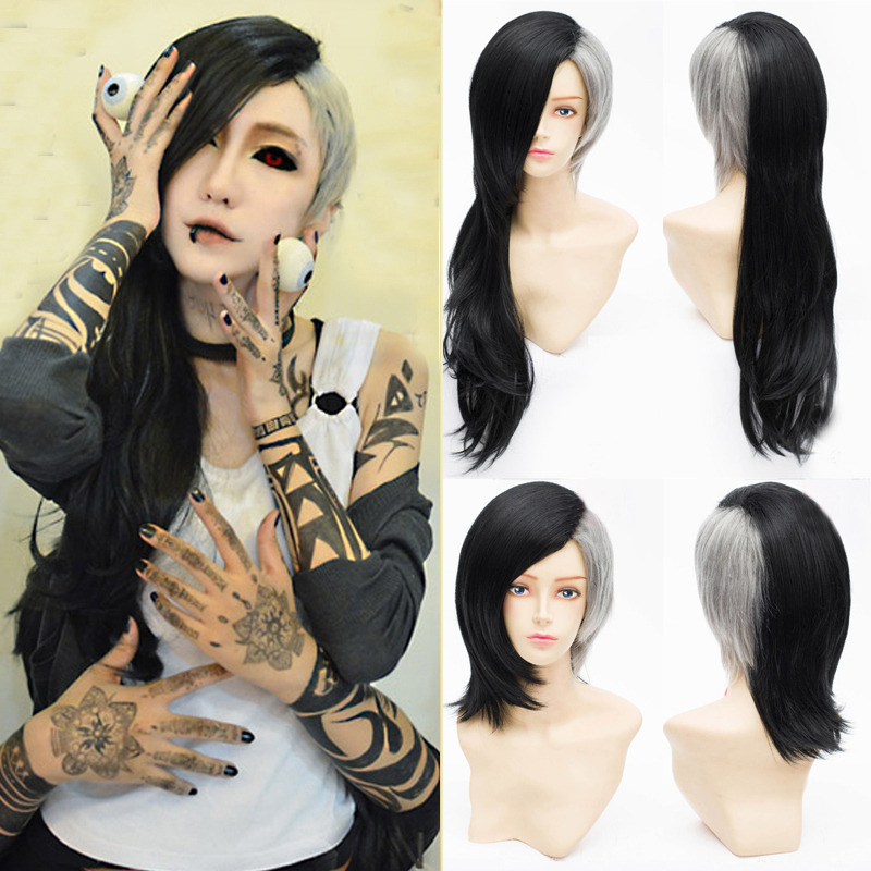Fashion Long Curly Wavy Wig Black Layer Cut Gray Hair Cool