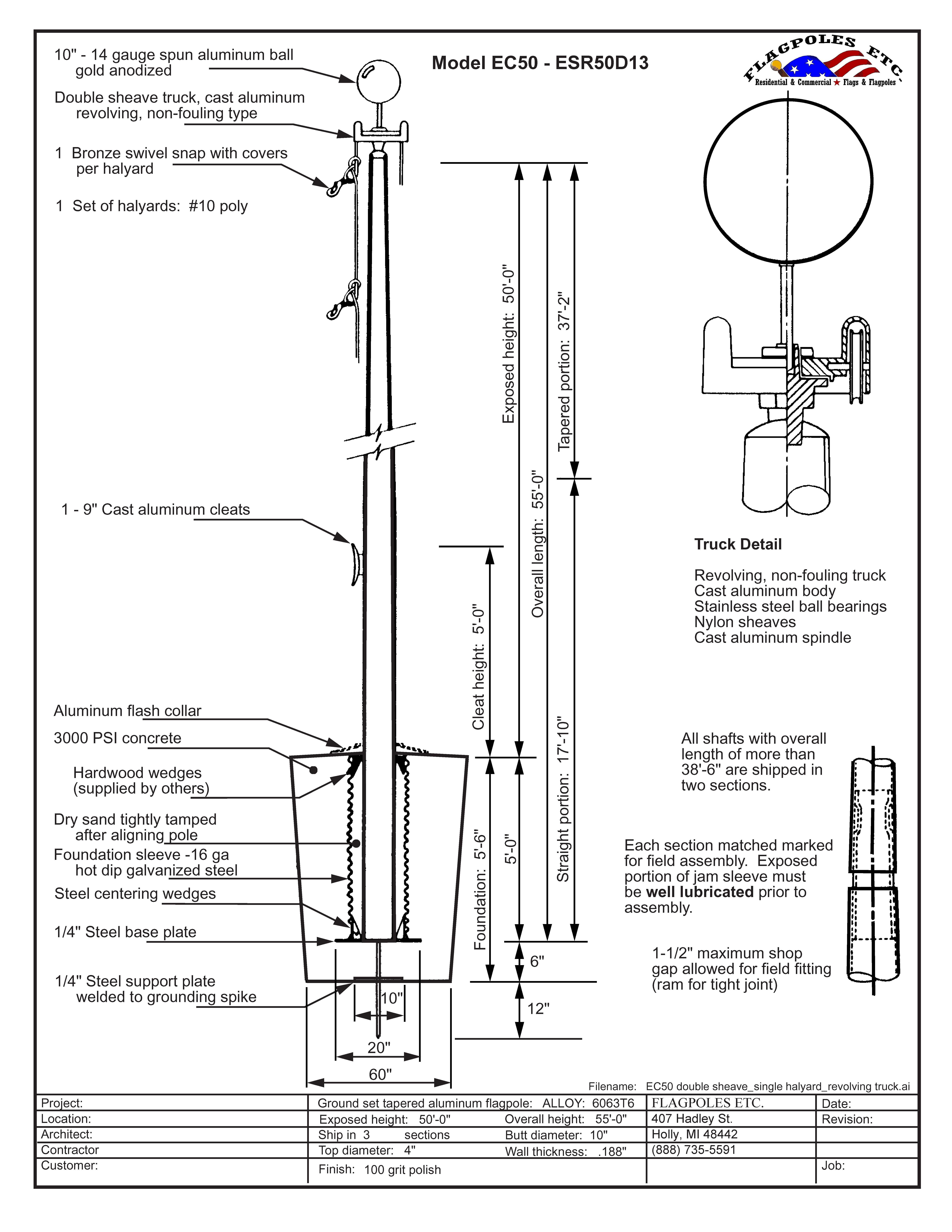 50 Foot Aluminum X 10 Inch External Halyard Flag Pole Made
