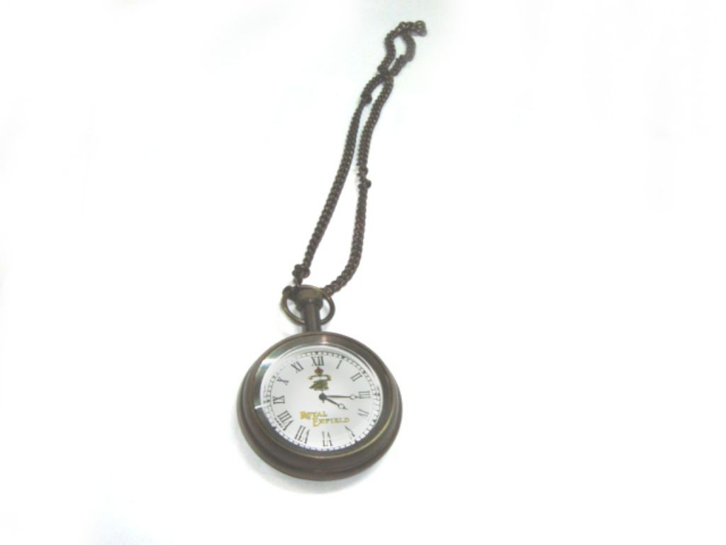 Enfield Brass Pocket Watch With Chain Antique Finish