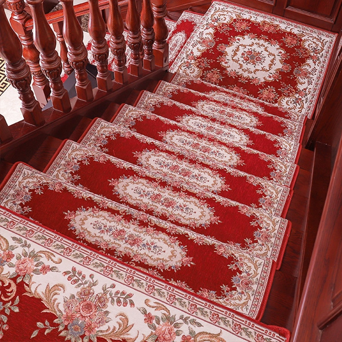 Elegant Floral Self Adhesive Stairs Carpet Non Slip Rug Stair   Carpet Stair Treads Only   Wood   Hardwood   Stair Runner   Non Slip   Hardwood Floors
