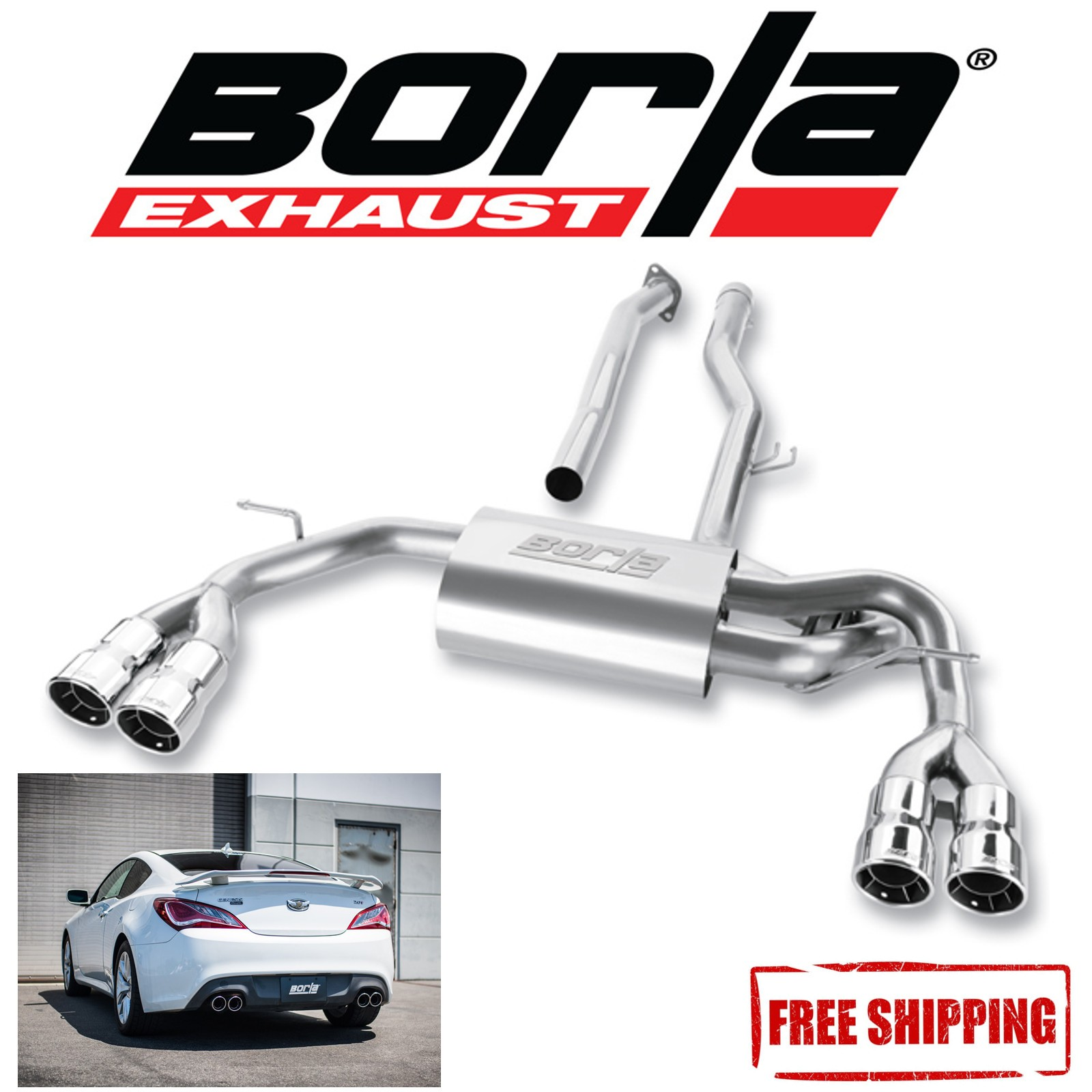 details about borla s type cat back performance exhaust for 10 14 hyundai genesis coupe 2 0l