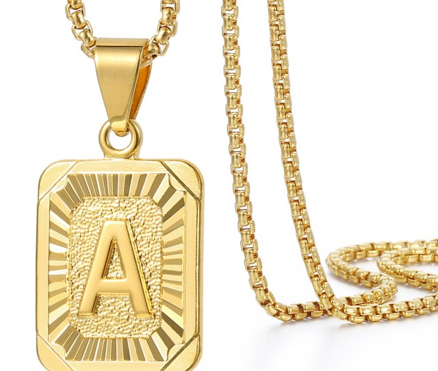 Mens Women Chain Gold Plated Pendant Necklace Square Initial Letter
