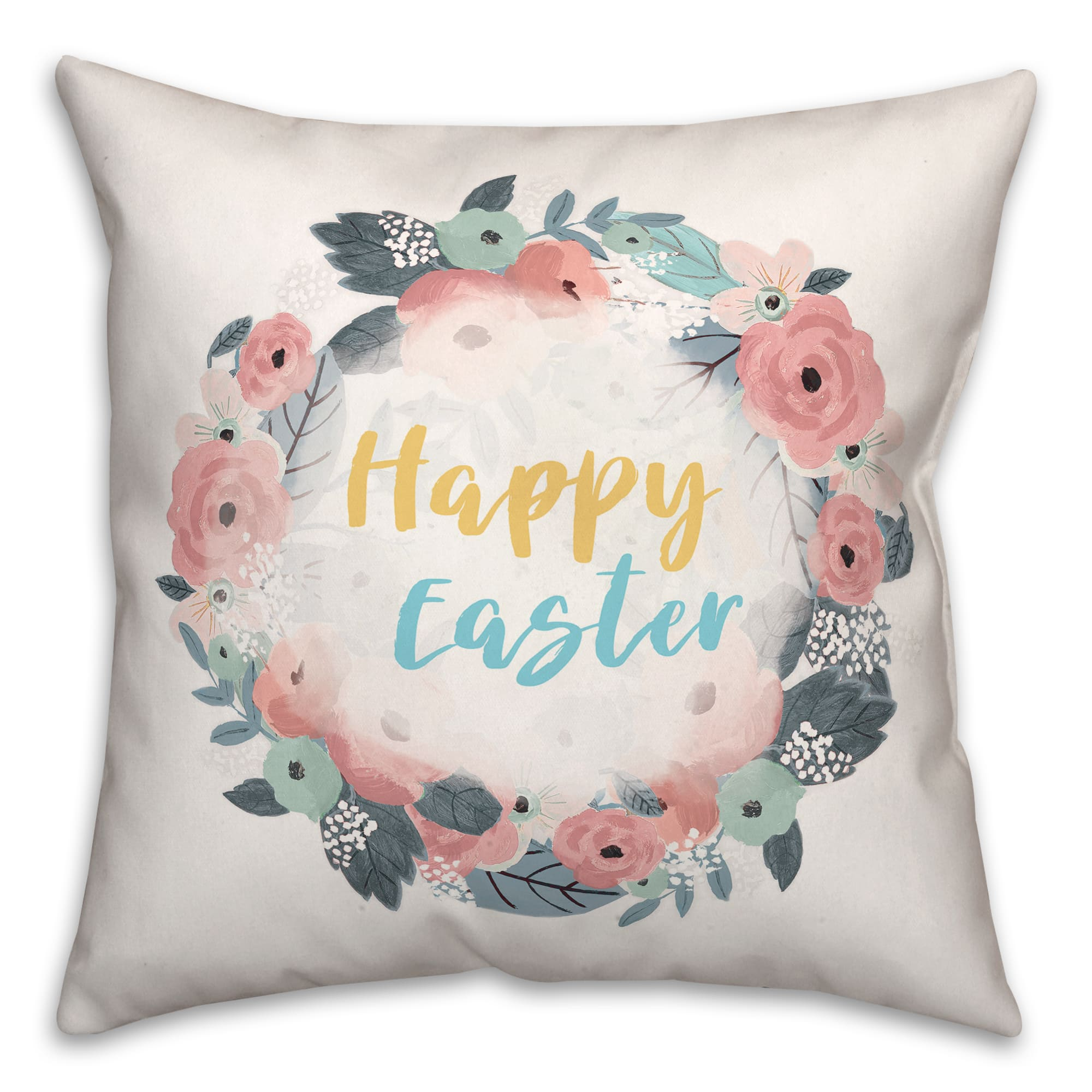 happy easter floral wreath throw pillow
