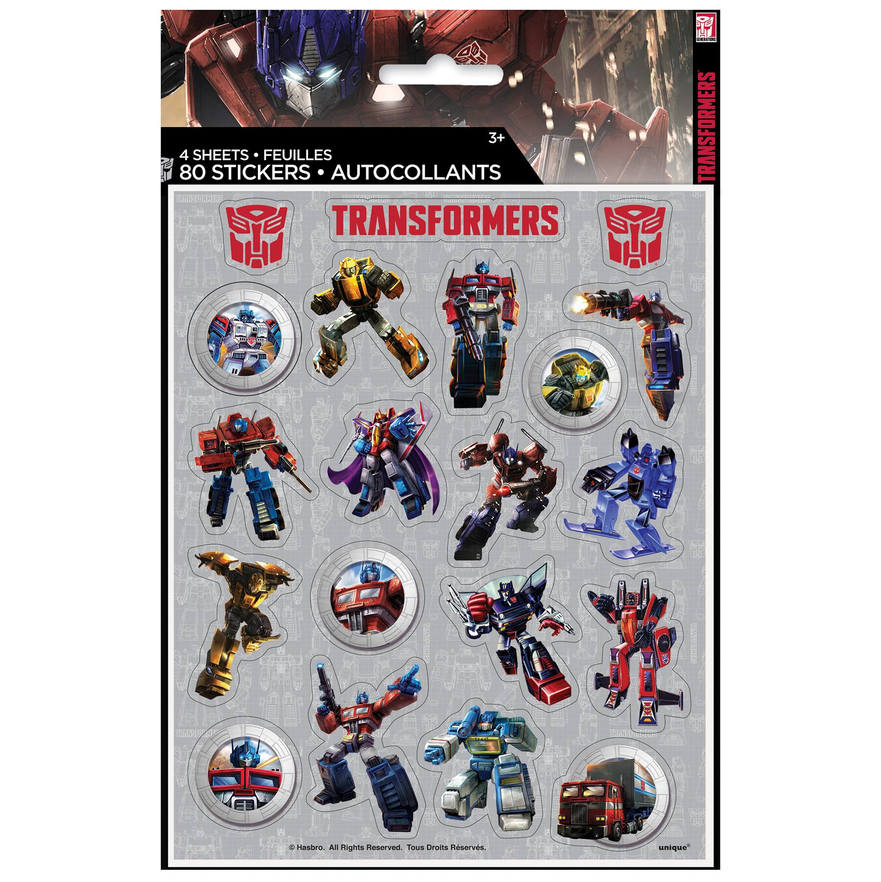 transformers sticker sheets 4ct