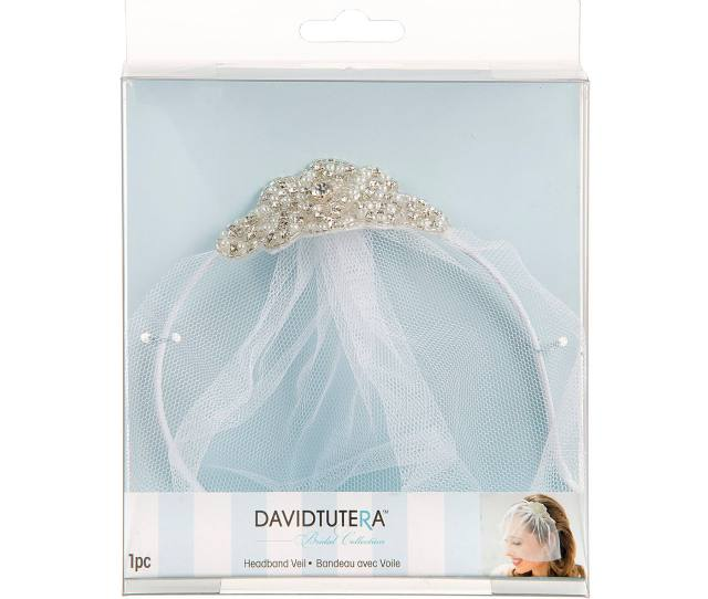 David Tutera Bridal Headband Veil With Beaded Silver Applique
