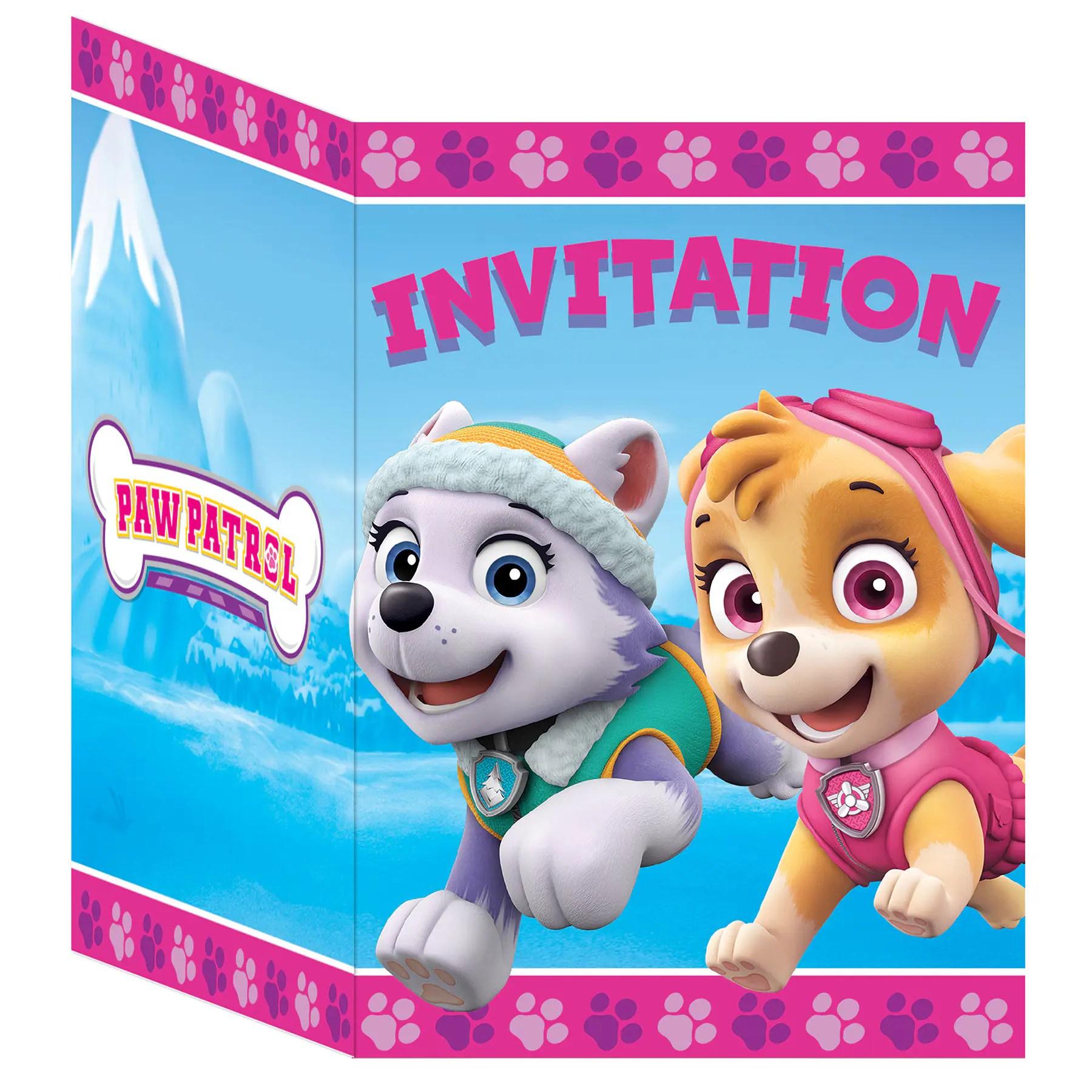 girl paw patrol invitations 8ct