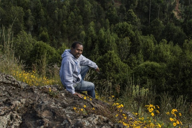 Biologist and botanist Birhanu Belay gained an early love of the natural world as a boy playing by the river and in the forests. Photo by Maheder Haileselassie Tadese