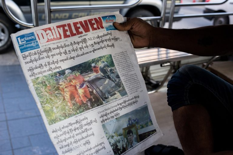 The front page of Daily Eleven in Yangon, Myanmar the day after the murder of one of its reporters. Photo by Ann Wang for Mongabay