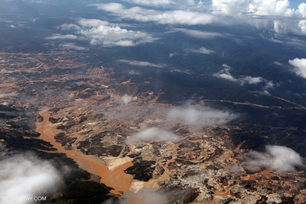 An aerial view of pollution from the Rio Huaypetue gold mine in Peru. Image by Rhett A. Butler/Mongabay.