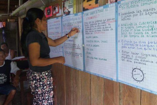 Monitores forestales realizaron campaña de información sobre el COVID-19. Foto: Orpio.
