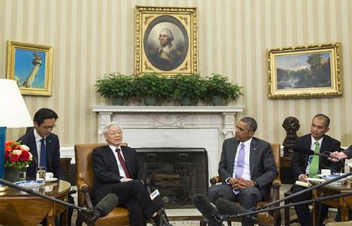 quan hệ Việt-Mỹ, Hoa Kỳ, Tổng bí thư, Obama, Biển Đông, đối tác toàn diện, TPP, DOC, chủ quyền