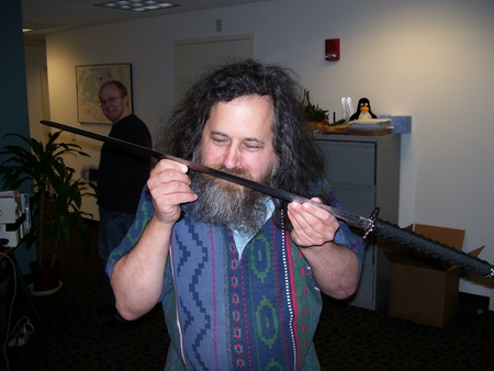 Richard Stallman with katana