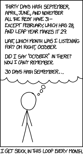 A stick man from xkcd tries to figure out how long October is