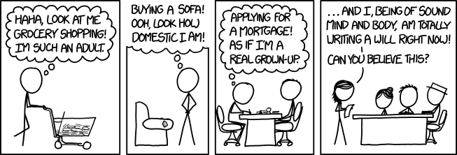 xkcd cartoon - adulting
