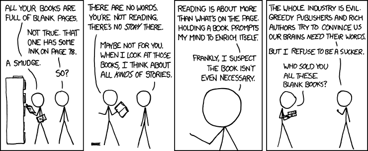 If literature had homeopathic publishers - XKCD 971, Alternative Literature