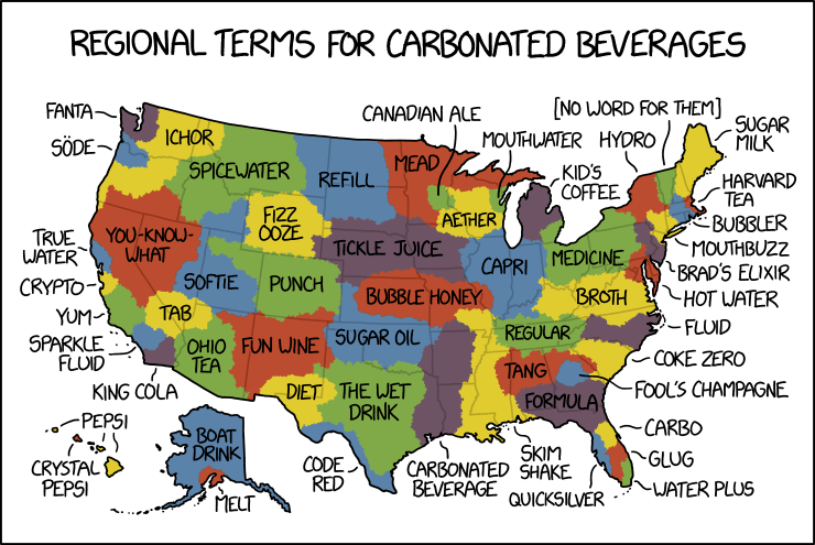 xkcd (6 Feb 2019): Regional Terms for Carbonated Beverages