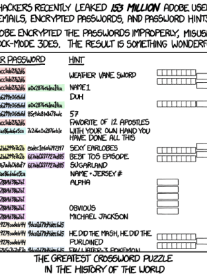 xkcd on Adobe password leak and their epic mistake on password ENCRYPTION instead of HASH