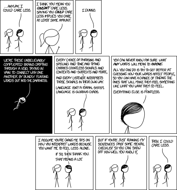 Image: 9 panel comic, two stick figures conversing. Person #1: