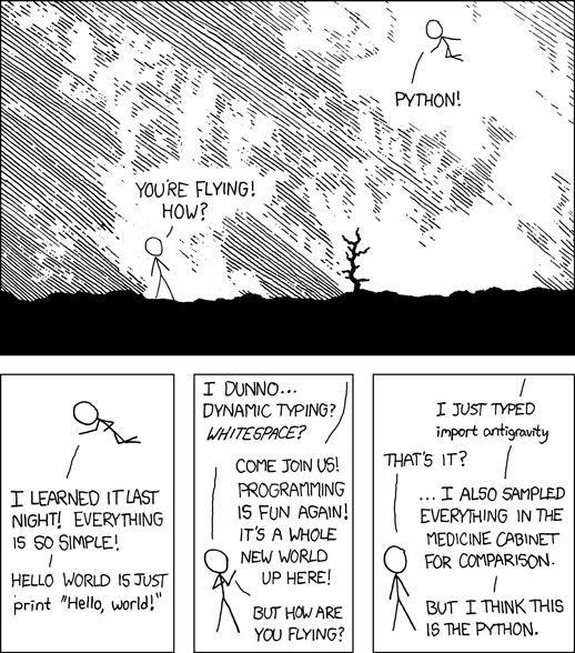 Pyython cartoon - via https://xkcd.com/353/