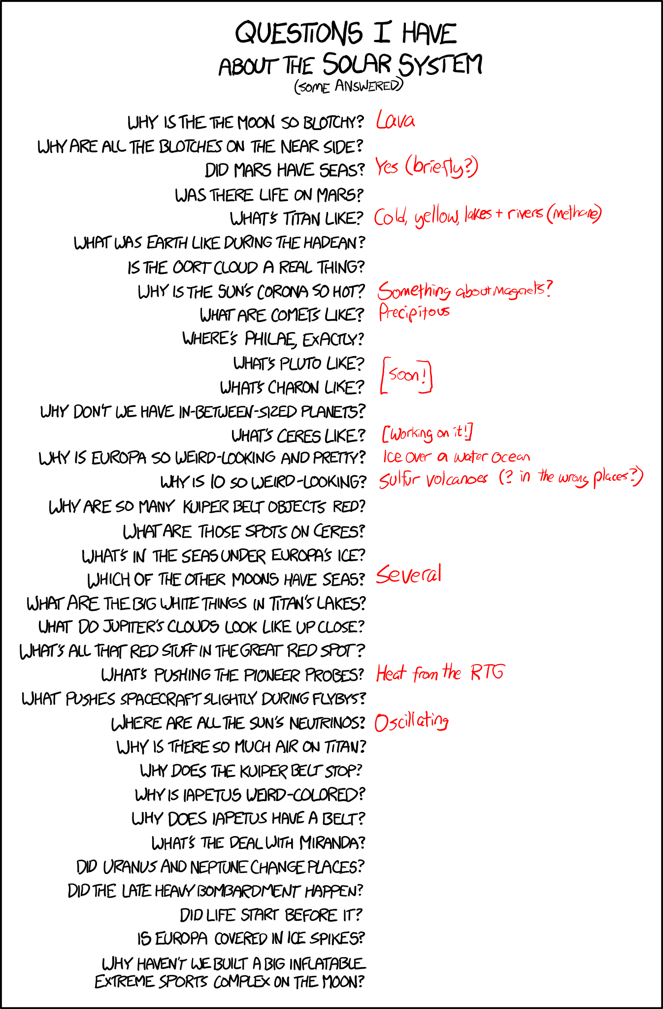 Xkcd Solar System Questions