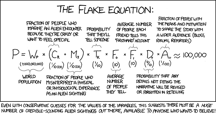 XKCD, Flake equation. Based on the famous Drake equation, put to task to show that credible sounding alien sightings will always be available to those who want to believe in them.