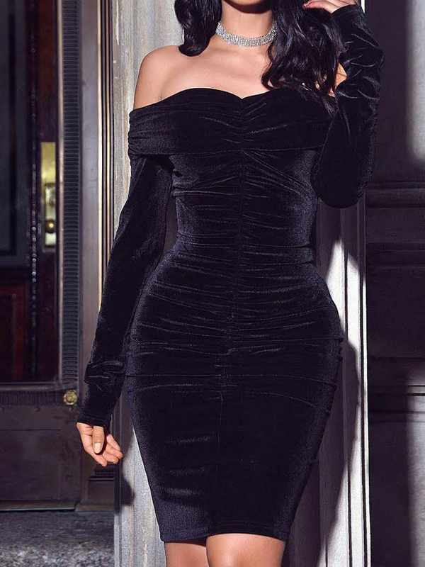 Fashion Plain Black Velvet Long Sleeve Off The Shoulder Dress