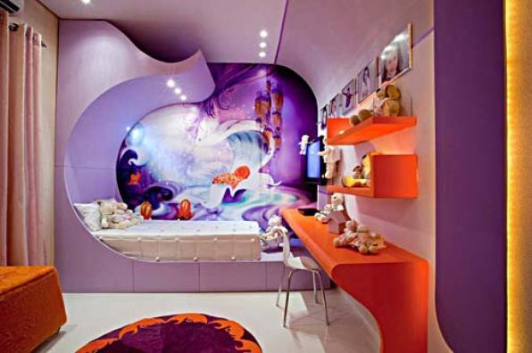 A decoração futurista também pode ser infantil, além de colorida, deixa o quarto com um ar mágico - Reprodução/Internet
