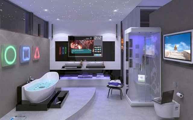 A tecnologia é o que mais chama atenção na decoração futurista - televisões de alta definição, computadores e iluminação LED estão presentes em praticamente todos os ambientes decorados com esse estilo (Reprodução/Internet)