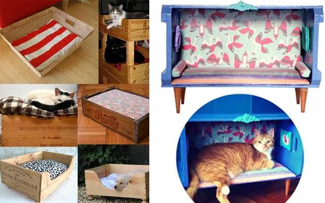 Até os pets sairam ganhando! É possivel fazer aconchegantes casinhas para os gatos com caixotes de feira reaproveitados (Le Modiste)