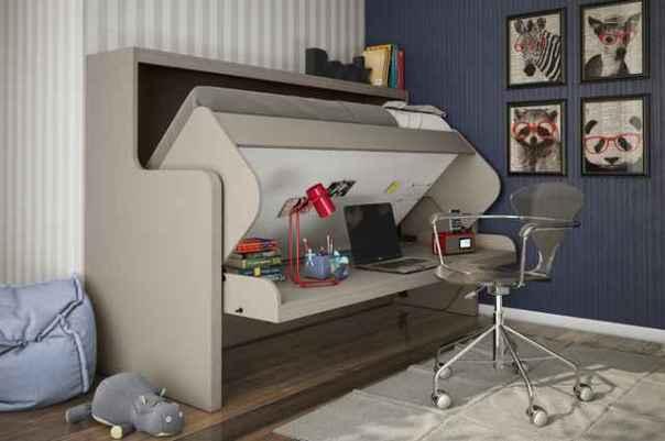 Conjugado cama e bancada permite aproveitar, com organização, espaços disponíveis no quarto de crianças e jovens (Divulgação/Tavoletto)
