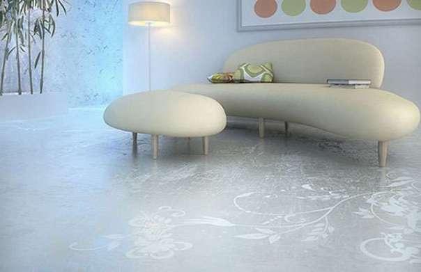 Antes limitado ao chão da fábrica, o material invadiu a sala de estar, os quartos e a cozinha, graças a tecnologias como o polimento por diamante (Reprodução Internet/Blog Mais Arquitetura)