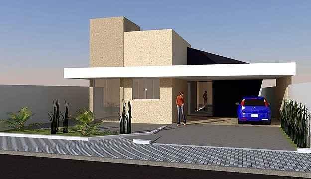 Com arquitetura de linhas contemporâneas e execução simples, a ideia desta residência de três quartos pode ser comprada por valores a partir de R$ 390 (Loja de projetos/Divulgação)