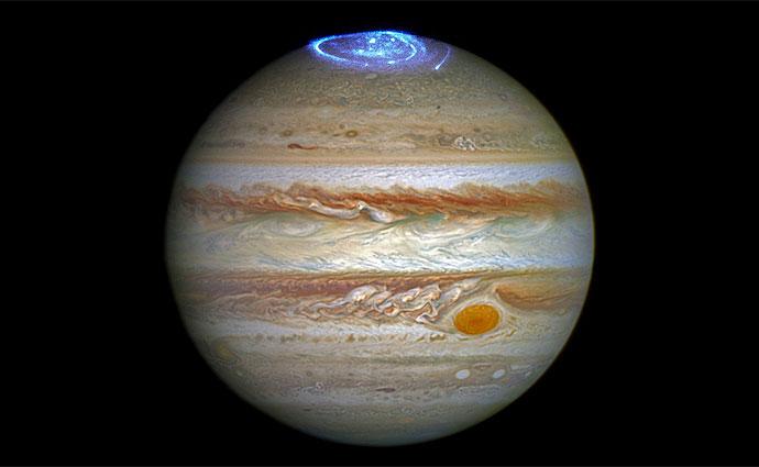 Imagem da aurora de Júpiter foi capturada pelo telescópio Hubble. Foto: Nasa/Divulgação