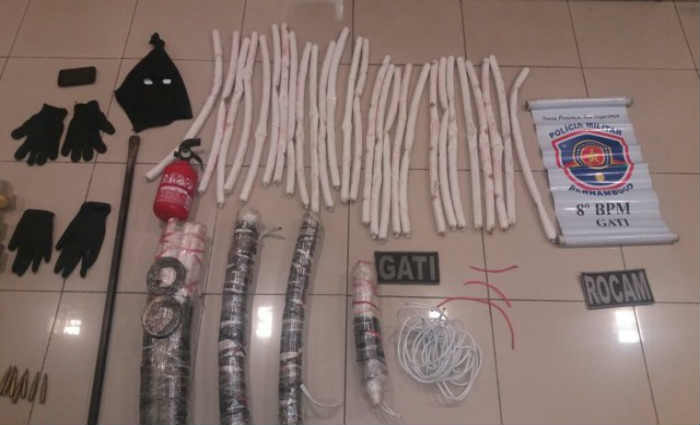 Materiais apreendidos pela PM em Salgueiro. Crédito: Polícia Militar/Divulgação