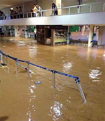 Estragos no Aeroporto da Pampulha (Reprodução/WhatsApp)