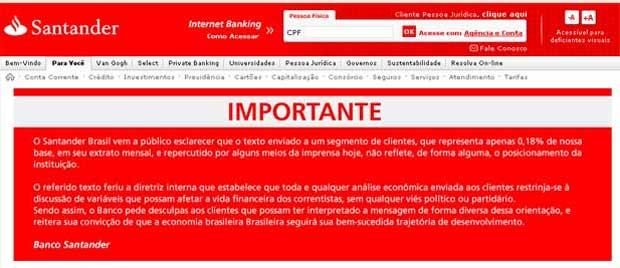Banco pede desculpas aos clientes por meio de seu site oficial (Reprodução/internet)