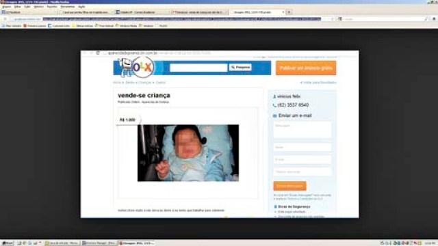 Anúncio publicado em site revela o motivo para a venda do bebê: 'Chora muito e não deixa eu dormir, e eu tenho que trabalhar para sobreviver' (Reprodução Internet - 13/11/13 18:20:55)