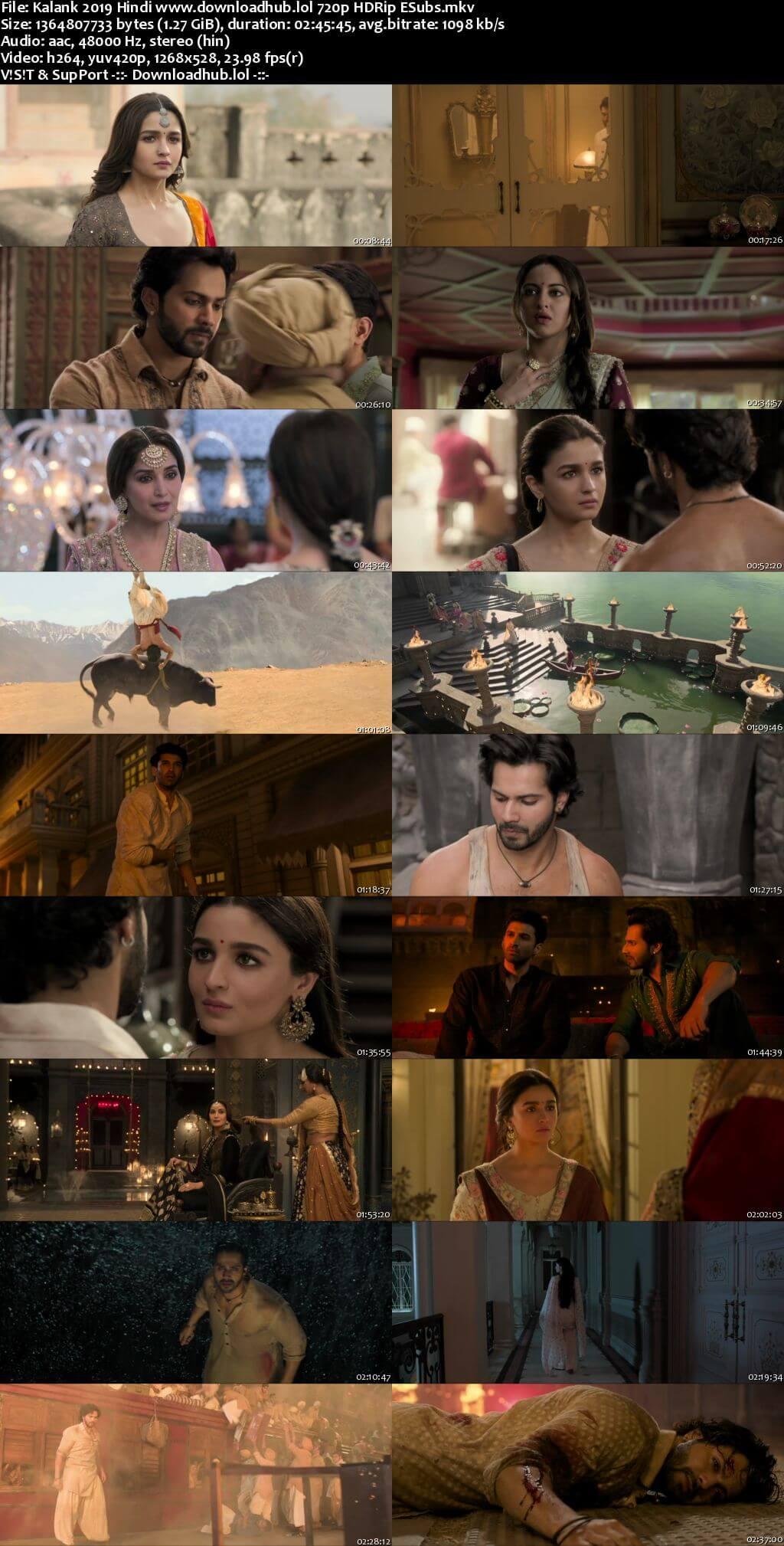 Download Kalank 2019 Hindi Movie 720p HDRip ESubs HEVC