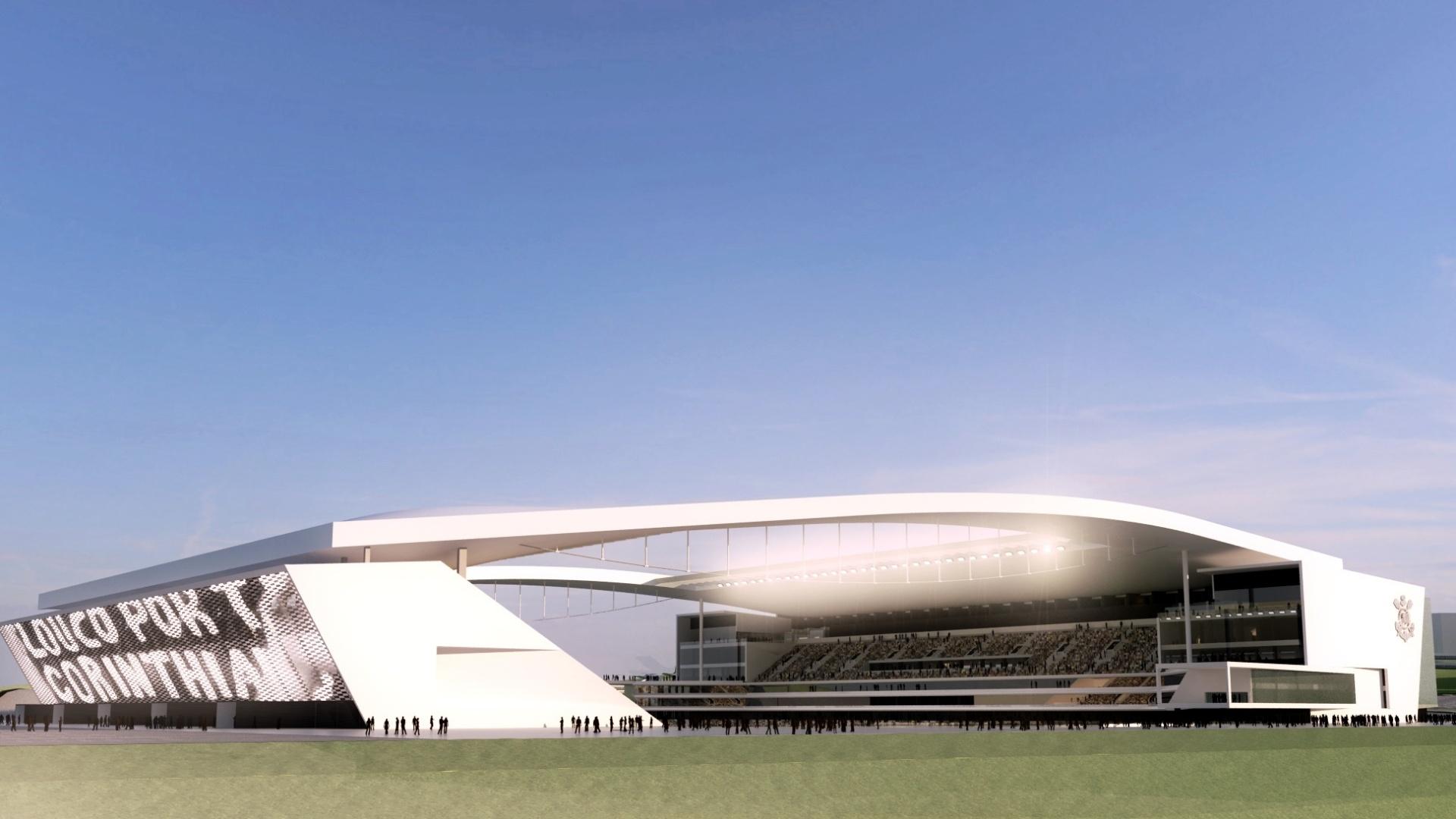 A Arena Corinthians, ainda em construção. Chamariz da revolução corinthiana para o Futuro.
