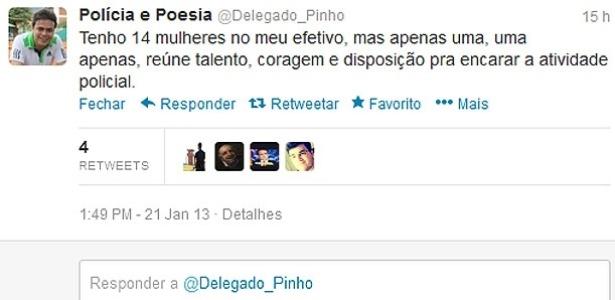 Comentário feito pelo delegado Pedro Paulo Pontes Pinho no Twitter causou polêmica. Ele acabou sendo exonerado do cargo de titular da 9ª DP do Rio de Janeiro